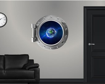 Port Scape Earth #1 Porthole Wall Graphic Sticker Decal Instant Space Window View Planets in Orbit Kids Game Room Decor Art NEW