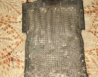 Victorian Silver plate Mesh Purse Hand Evening Bag! #CT