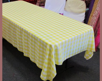 Tablecloth Checker Poly Poplin / Polyester / Gabardine Buffalo Gingham  Rectangle 58 X 108 Inches Yellow