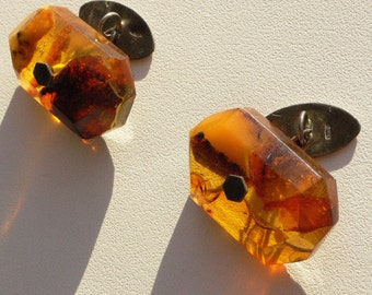 Soviet Cufflinks from baltic amber and silver 875. USSR retro vintage jewelry.
