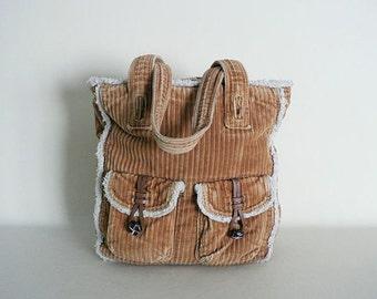 Brown Corduroy Shoulder Tote Bag