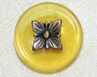 Beautiful Antique Apple Juice Bakelite Button ~ Tested ~ Brass 4 Petal Flower Pin Shank Escutcheon ~ Gorgeous!
