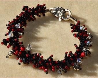 Red & Black Flowered Bracelet