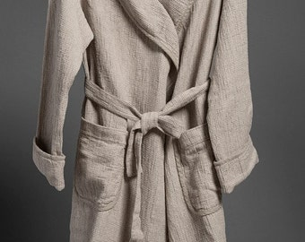 Linen bathrobe,ROBE  Grey linen / cotton MEN's bathrobe with a collar, high quality, extra soft as well as highly absorbent. LinenBuy
