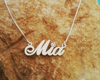 Mia style Sterling Silver Name Necklace, Birthstone Necklace, ORDER ANY NAME, personalized name necklace, necklace with name, custom mad