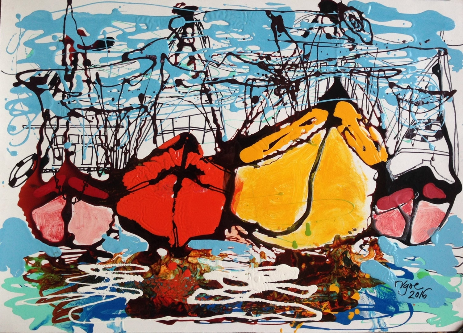 """MEKONG DELTA BOATS 21.7x15.7"""" oil on paper, lines, original painting by Nguyen Ly Phuong Ngoc"""