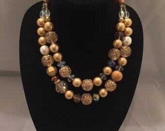 Chunky Gold  Glass Pearl and Crystal Statement  Necklace Two strands