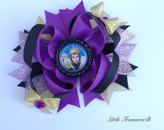 Purple and black Maleficent boutique style hairbow, Maleficent Bow, Disney Evil Queen Maleficent bow, Birthday Bow, Halloween bow.