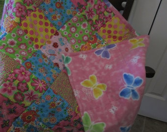 Colorful, Cozy, Cheerful Butterfly and Flower Baby Quilt