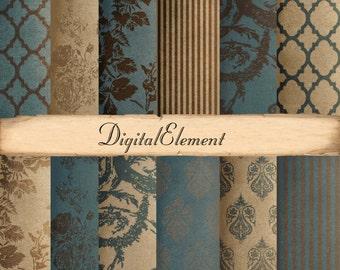 Digital Background Paper, Teal Digital Scrapbook Paper, Rose Digital Paper, Brown Damask Texture and Background Paper. No.V3.13.DA