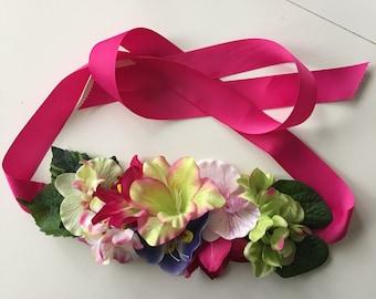 Belt fabric flowers