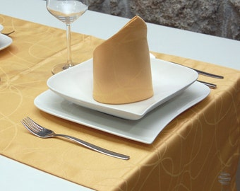 Luxury Gold Table Runner - Anti Stain Proof Resistant - Pack of 2 units - Ref. Lines - Large hem