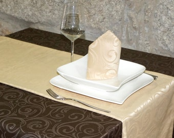 Luxury Beige Table Runner - Anti Stain Proof Resistant - Pack of 2 units - Ref. Lyon