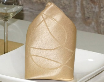 Luxury Beige Napkins - Anti Stain Proof Resistant - Pack of 6 units - Ref. Lines
