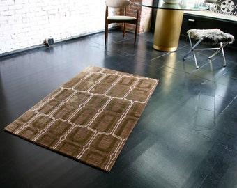 """Tibetan hand-knotted silk & hemp rug, Contemporary design, 3'.0"""" x 5'.0"""" ft."""