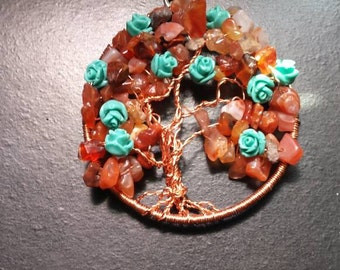 Hand Crafted Autumn Roses Tree of Life Pendant.