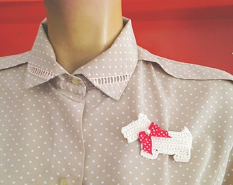 Dog Crochet Brooch