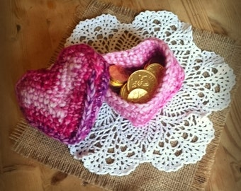 Heart Shaped Box with lid - Hand Crocheted