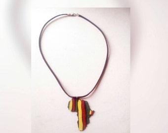 Rasta stripe Africa necklace