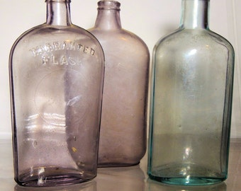 3 Antique flasks circa turn of the century late 1800s - early 1900