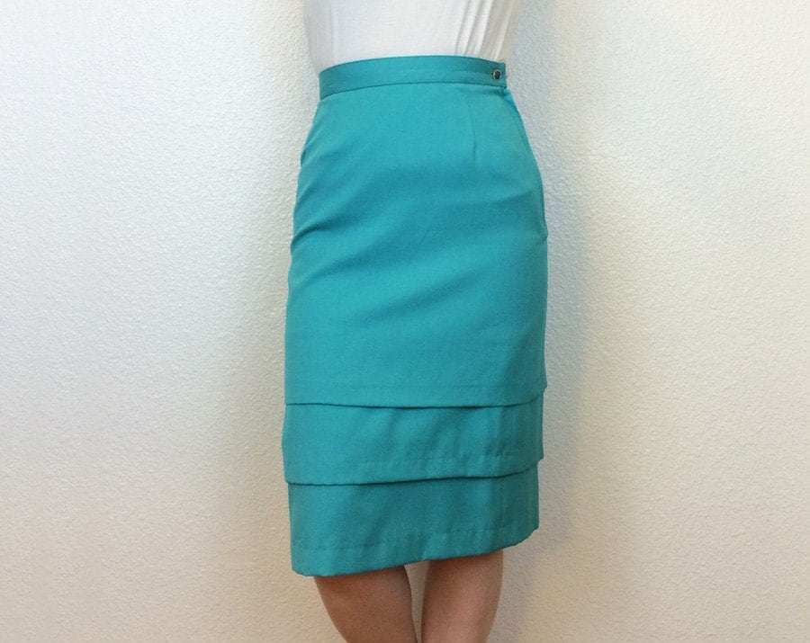 executive mermaid 80s tiered pencil skirt turquoise pencil