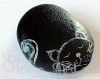Black Sleeping Cat Pebble