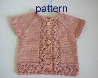 Baby kntting pattern.Pattern baby cardigan.Knitted baby cardigan,knit baby vest.Pattern PDF-PV010