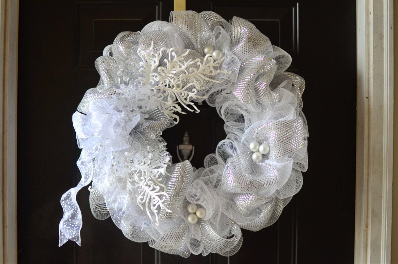 White Winter Holiday Deco Mesh Wreath