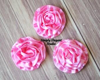 "Pink Rolled Shiny Rosettes, 3"" Fabric Flowers, Headband Flowers, DIY Craft Flowers"