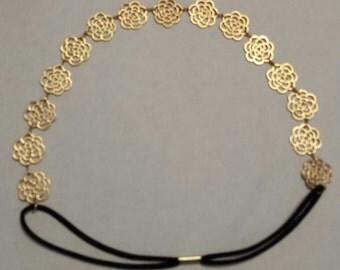 Gold Hollow Rose Headband
