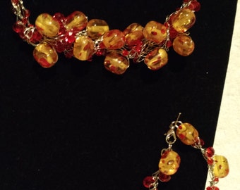 Red and yellow necklace set