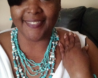 Blue turquoise necklace set II