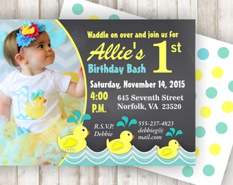 Rubber Duck Birthday Invitation Rubber Duck Invite 1st Birthday Printable Invite First Birthday Invitation Rubber Duck Party BIRD01