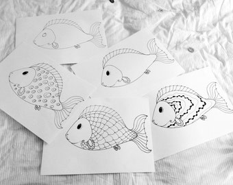 Hand Painted Coloring Pages - Fishes