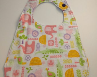 Infant Bib with Bright Zoo Animals