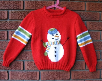 Size 6 -Knitted Snowman Pullover-