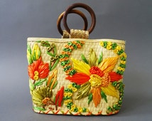 50s Straw Bouquet Handbag - 1950s Straw Vintage Purse - Floral Orange Yellow Green Bag w Wood Rings - Summer Beach PinUp Handbag - Flowers