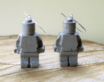 Concrete Character Drop Earrings with Sterling Silver
