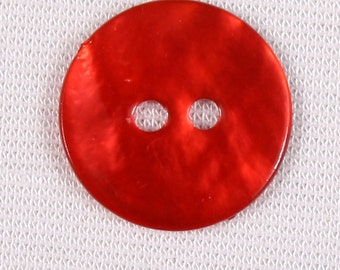 23 buttons 15mm mother of Pearl, red, 2 holes (3414)