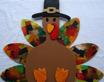 Thanksgiving Turkey (Unfinished); Fall Holiday Turkey Craft Kit; Thanksgiving Kit; Fall Decoration; Door Hanger; Fun Thanksgiving Activity