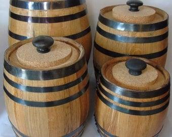 Oak Barrel Kitchen Canister Set