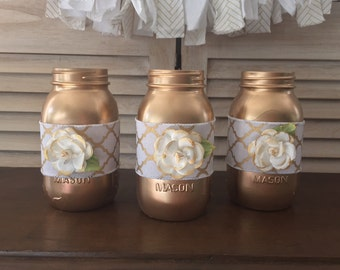 Set of (3) Gold Gatsby Theme Party Quart Size Mason Jar Centerpieces, white and gold gatsby wedding centerpieces, roaring 20s party decor