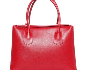 LAFatima Red Leather Bag/Office Bag/Leather Tote Bag/Leather Bag/Large Leather Tote Bag/Made in Italy/Leather Work Bag/Handmade Leather Bag