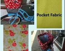 Bike Basket Liner, Green & Red Floral