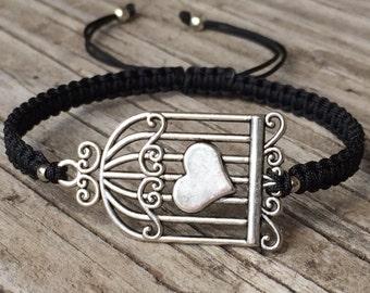 Birdcage Bracelet, Birdcage Anklet, Adjustable Cord Macrame Friendship Bracelet, Birdcage Jewelry, Cage Bracelet, Gift for Her, Love Gift