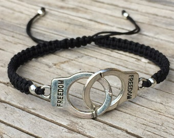 Handcuff Bracelet, Handcuff Anklet, Adjustable Cord Macrame Friendship Bracelet, Partners in Crime, Friendship Bracelet, Freedom Bracelet