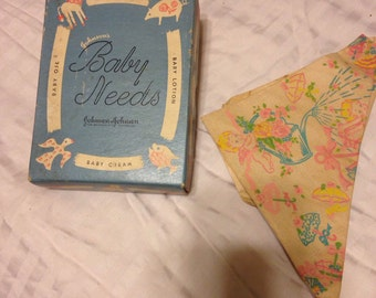 Vintage Johnson and Johnson 1940's box, baby shower napkins and small note