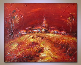 Abstract Painting, Oil Painting, Original Painting, Living Room Art, Modern Wall Art Canvas, Red, Gold, Canvas Painting, Landscape Painting