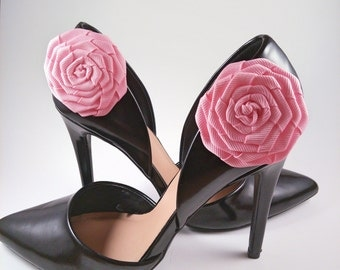 Pink rosette shoe clips
