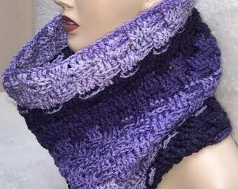 Small Purple Cowl, Basketweave Cowl, Purple Cowl Scarf, Cowl Scarf, Crocheted Scarf, Neckwarmer Scarf, Circle Scarf